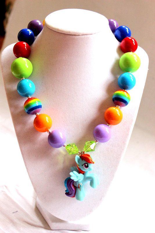 my little pony girl chunky bead necklace girl by LightningBugsLane, $15.00