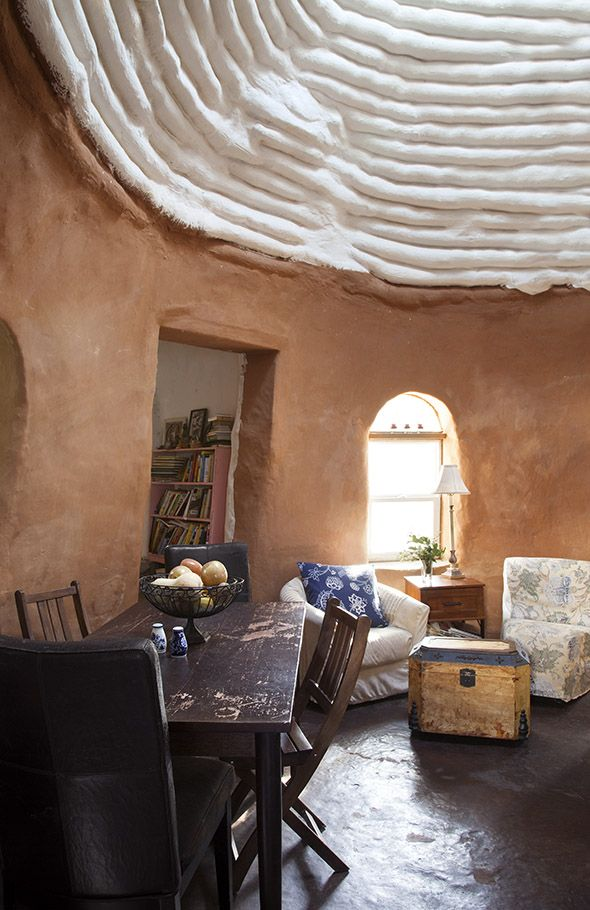 "Located on the East Side, the Earthbag House has domed ceilings, 22"" walls, and is made of 220 tons of locally-found clay 