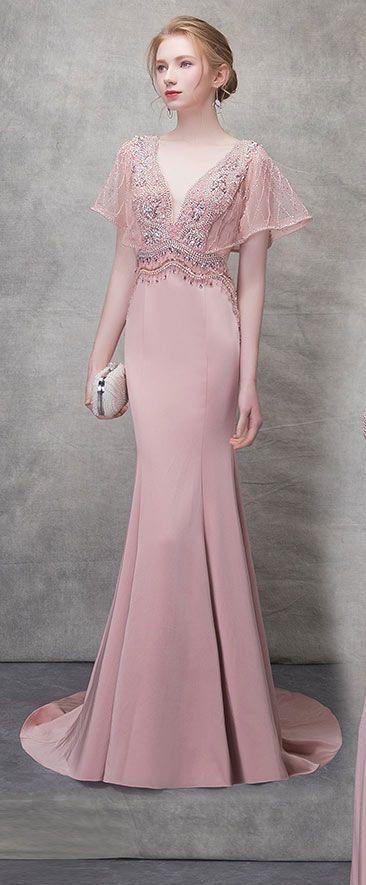 0033ae07beb Robe de soirée vieux rose coupe sirène décolleté plongeant à manche ...