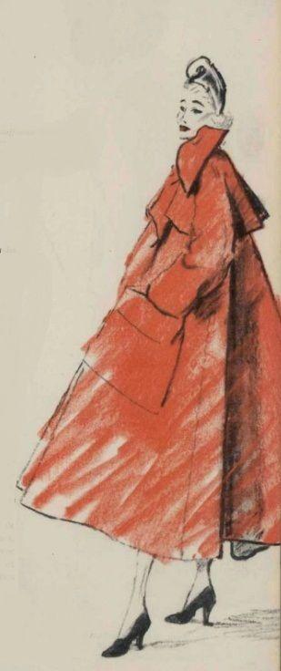 Christian Dior, 1948 #fashion #sketch