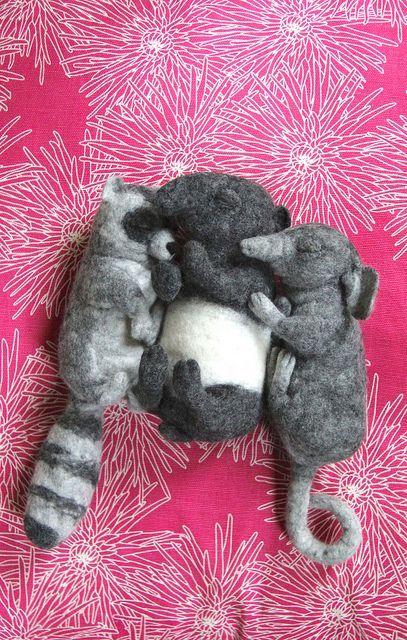 three lazy bones, by swig - filz felt feutre via Flickr.: