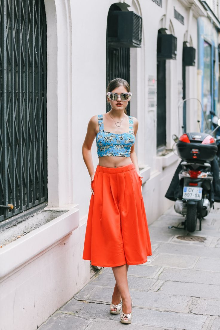 bright orange culottes and heels