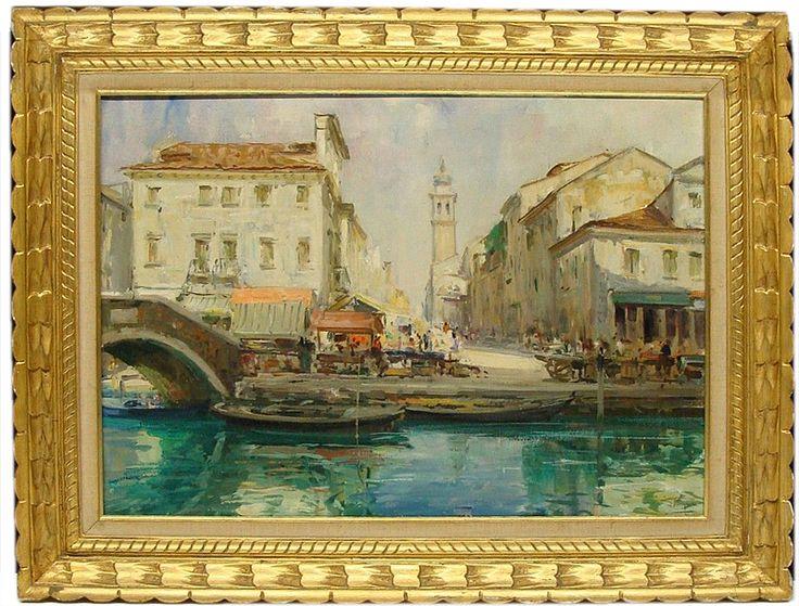 Pagan Luigi  - Chioggia (Venice) market http://www.antichitamissaglia.it/galleria/quadri/q68%20-%20verduta%20di%20chioggia%20-%20luigi%20pagan.html