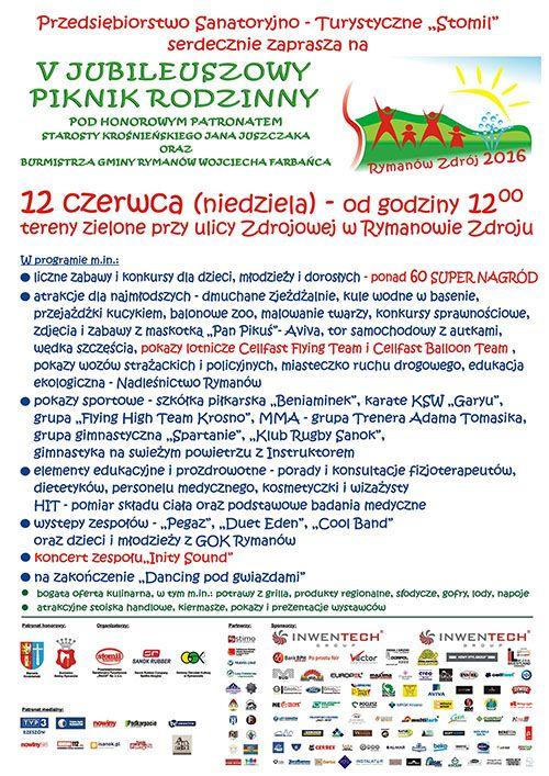 """Przedsiębiorstwo Sanatoryjno-Turystyczne """"Stomil"""" serdecznie zaprasza do udziału w V Jubileuszowym Pikniku Rodzinnym, który odbędzie się 12 czerwca 2016 r. (niedziele), start o godz. 12, szczegóły imprezy na plakacie:"""