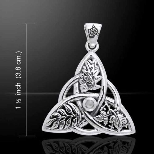 Oak Ash Thorn Pendant in .925 Sterling Silver Celtic Knot Triquetra Faerie Magick DRUID Pagan pendant with Moonstone gem