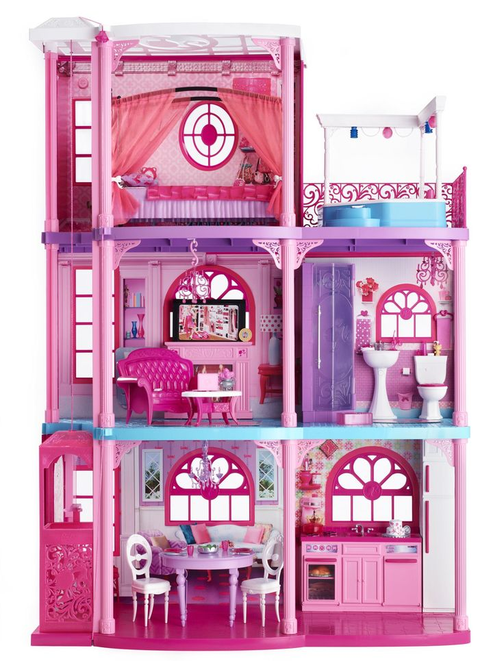 Barbie Dreamhouse 2012    Continuing with her love of pink, Barbie's Dreamhouse includes two sitting/entertaining room, a kitchen, bathroom, bedroom and an outside hot tub.