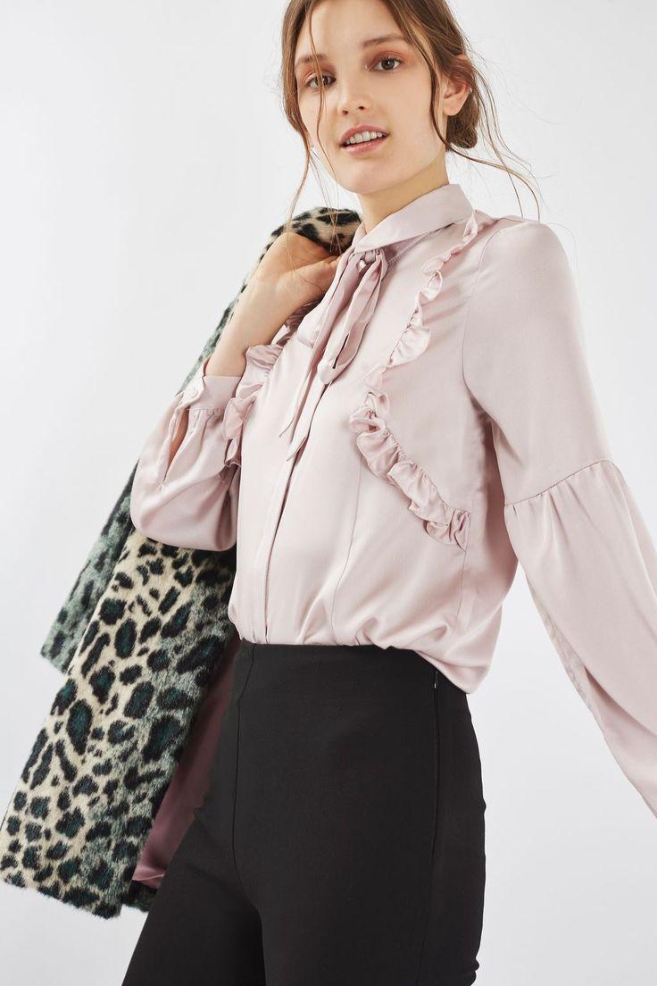 Satin Pussybow Shirt - Tops - Clothing - Topshop USA