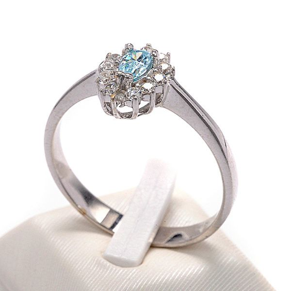 Δαχτυλίδι ροζέτα λευκόχρυσο Κ14 ζιργκόν 8493