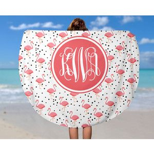 Round Beach Towel Pink Flamingo Monogram Roundie Beach Towel Soft Velour Monogram Beach Towel
