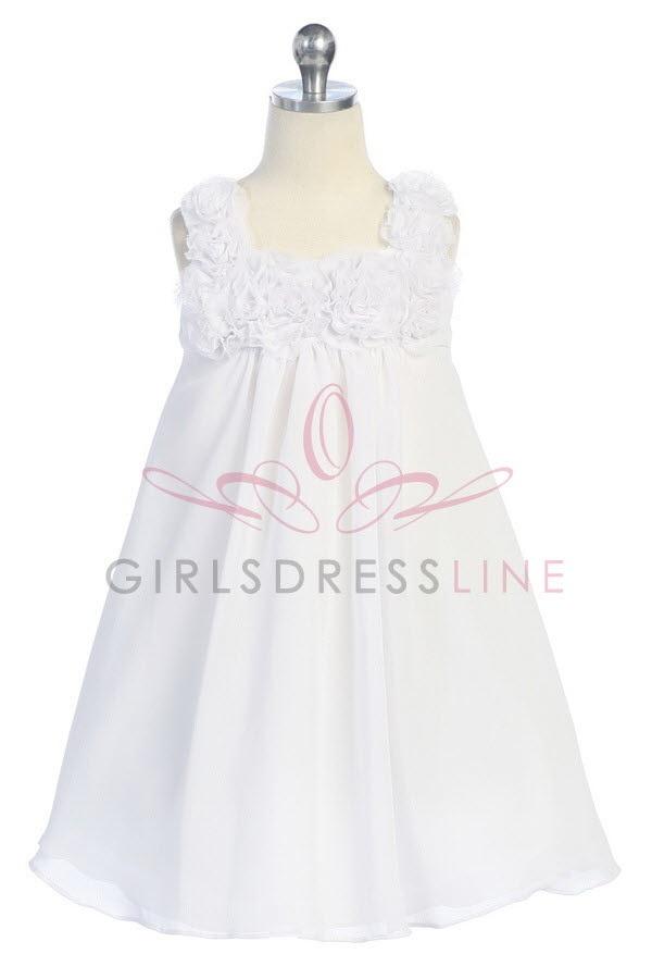 White Chiffon Flower Girl Dresses 32