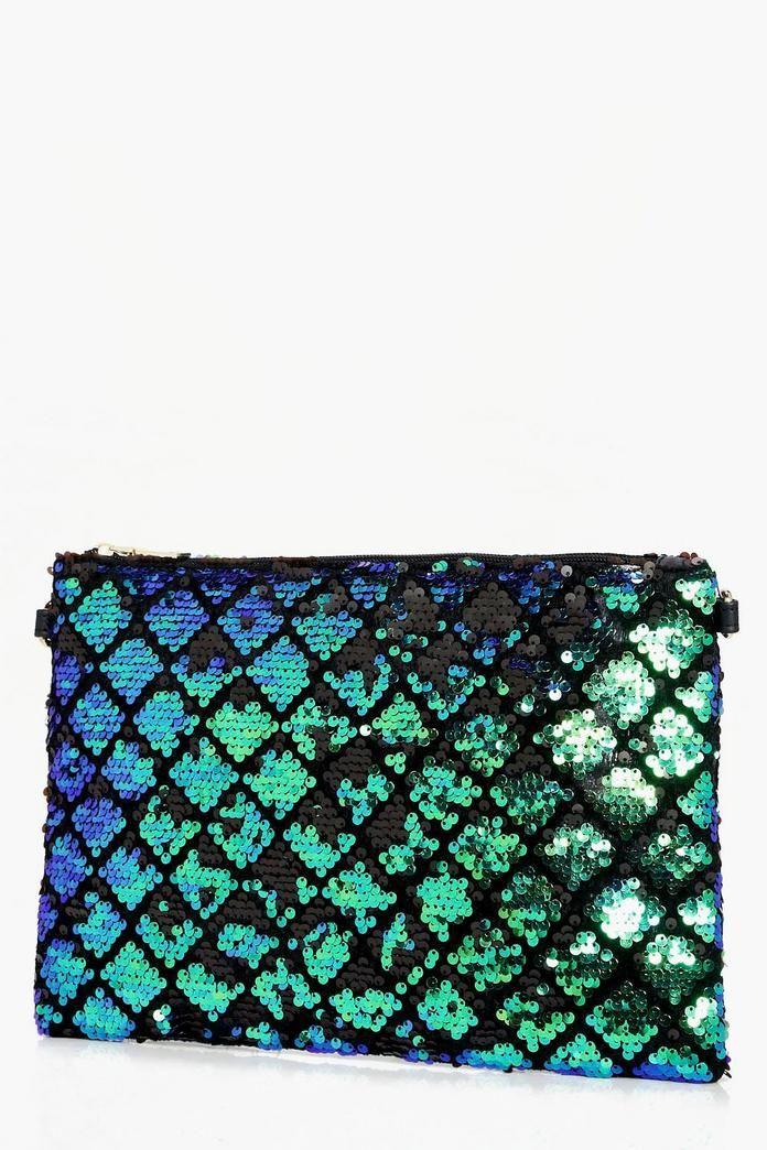 Lara Diamond Pattern Sequin Clutch Bag