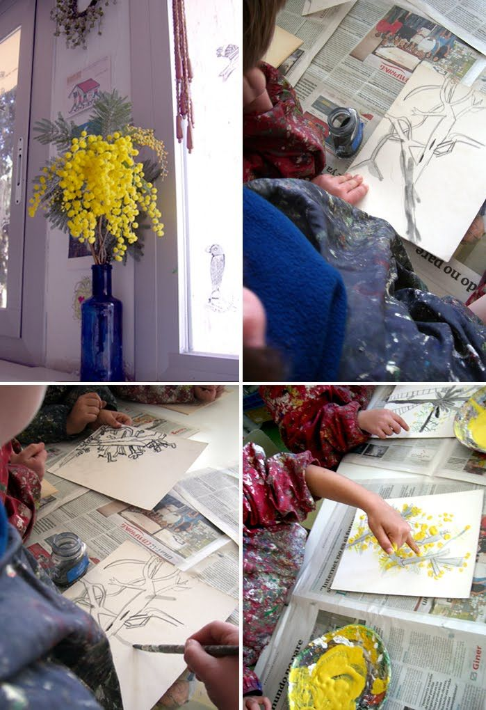 Wattle finger painting