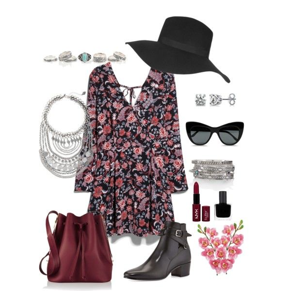 #outfit #flowers by ariannavillegas on Polyvore featuring polyvore, fashion, style, MANGO, Yves Saint Laurent, Sophie Hulme, Express, BERRICLE, Topshop, STELLA McCARTNEY, NYX, RGB and Laura Cole