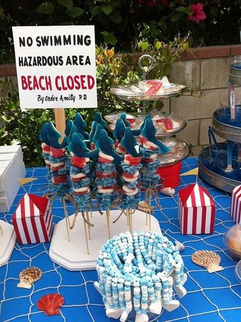 """Jaws"" themed birthday party. Sharks everywhere!"
