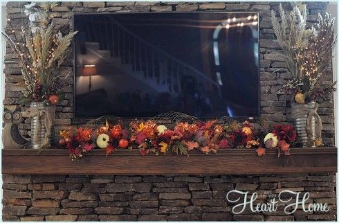 Fall Mantle #falldecorating / decorating a mantle w/ a TV over the fireplace