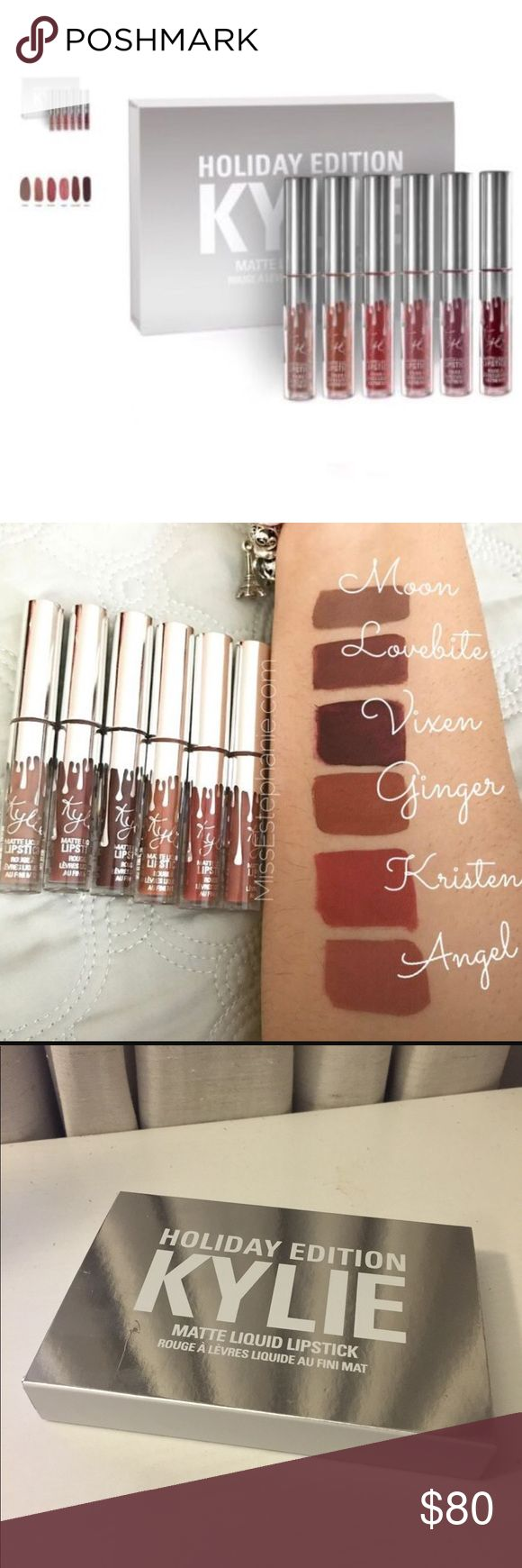 Kylie Cosmetics Holiday Edition Mini Kylie Cosmetics Holiday Edition Mini  Brand new. Never been used  Purchased from Kylie cosmetics I purchased 2 sets and never used this one Swatches in photo is what I found online   Comes with 6 colors  Moon Matte Lipstick Ginger Matte Lipstick Kristen  Matte Lipstick Angel Matte Lipstick Love Bite Matte Lipstick Vixen Matte Lipstick Kylie Cosmetics Makeup Lipstick