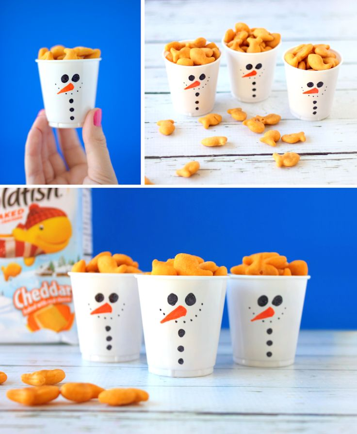 These little snowman snack cups are becoming a holiday crafting tradition. They are so simple to make and absolutely adorable. Kids will love to decorate their own for a fun holiday activity. Fill with your kids favorite Goldfish crackers and snuggle up for a holiday movie.