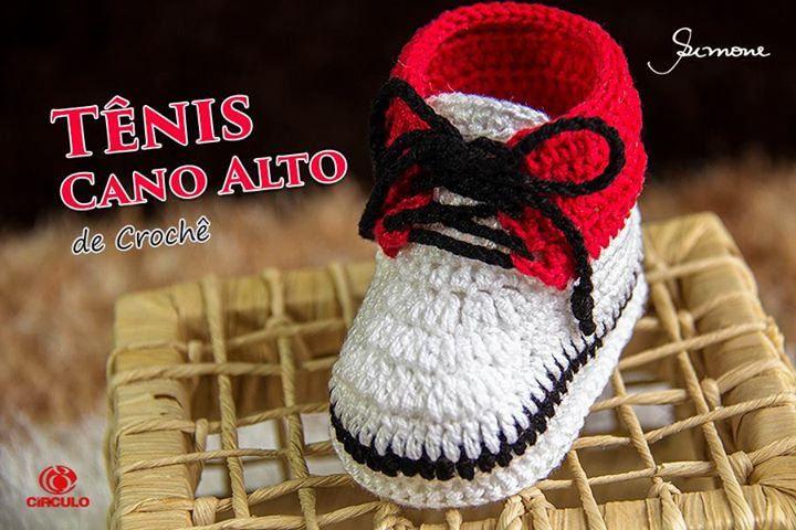 Tênis de crochê infantil cano alto  https://www.youtube.com/watch?v=kpUzR9cER_c #crochet #professorasimone #semprecirculo