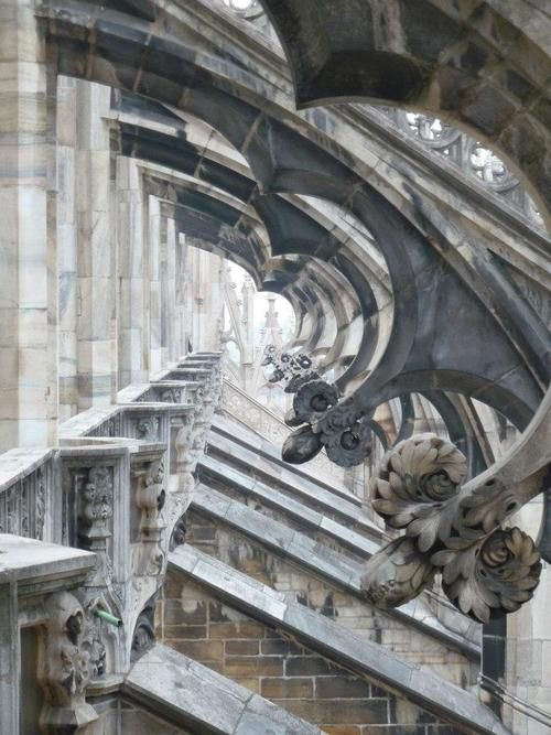 Milan Cathedral buttresses, Milan, Italy