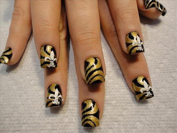 New Orleans Saints Nail Designs | Saints nail designs | Nails