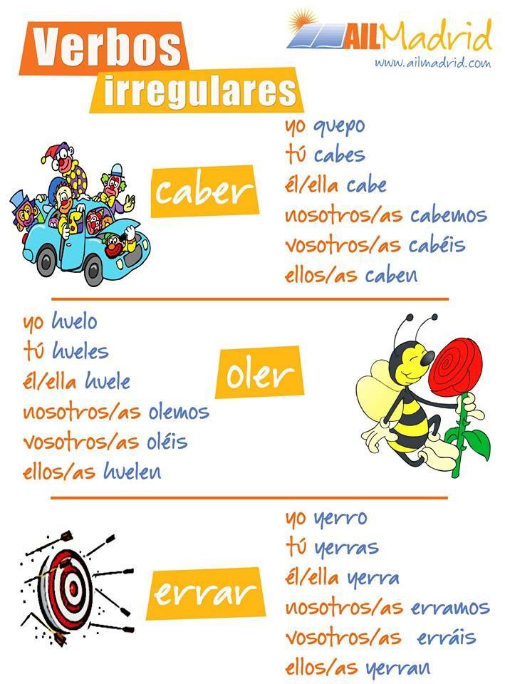 """Hoy te presentamos los verbos irregulares """"caber"""", """"oler"""" y """"errar"""". ¡A ver quién puede formar una frase con uno de estos verbos! #spanishverbs #español"""