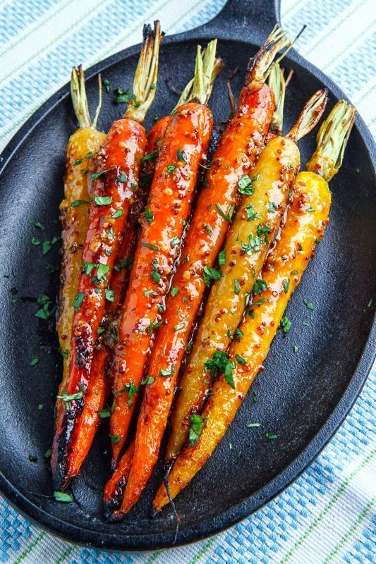 Maple Dijon Roasted Carrots Recipe made with carrots, vegetable oil, maple syrup, grainy mustard, Dijon mustard, white miso paste, rice vinegar, soy sauce and garlic [TR]