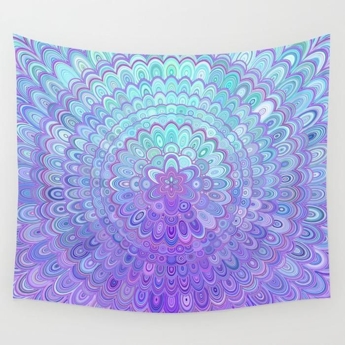Mandala Flower In Light Blue And Purple Wall Tapestry By David