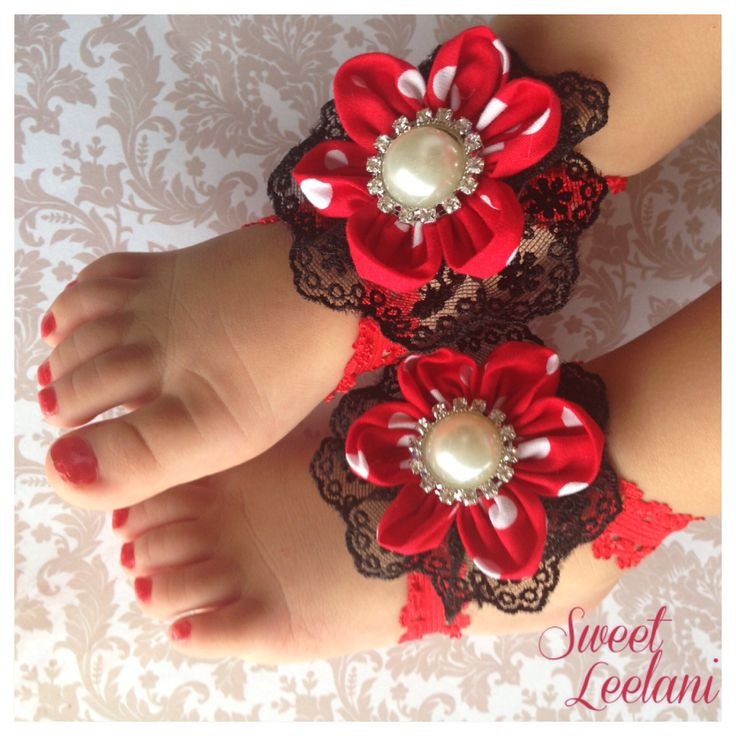 Minnie Mouse inspired barefoot sandals. www.facebook.com/sweetleelani