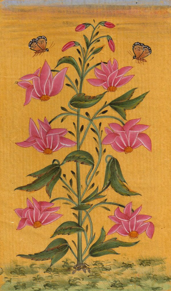 Indian Floral Flower Miniature Painting Moghul Mughal Handmade Watercolor Art