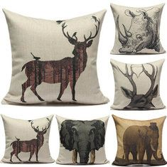 Animal Deer Elephant Rhinoceros Printed Cotton Linen Pillow Case