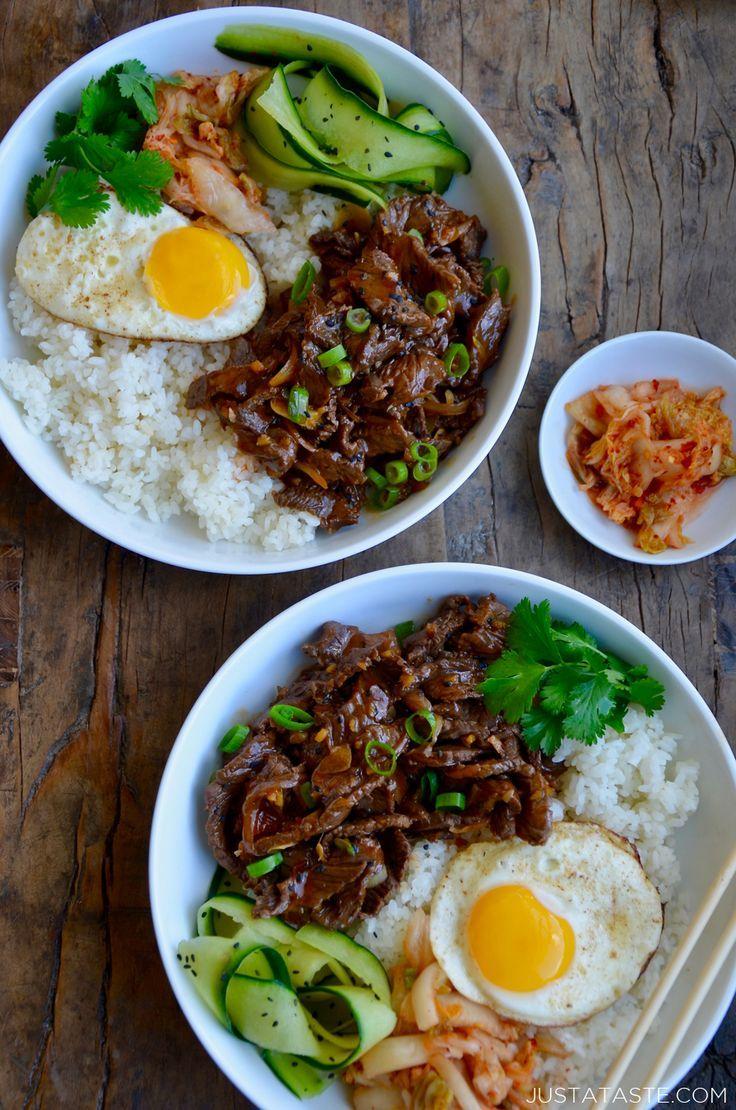 Make Ahead Recipe For Easy Beef Bulgogi Bowls Served With Pickled Veggies And Fried Eggs Justataste Com Hello Fresh Recipes Bulgogi Beef Ground Beef Recipes