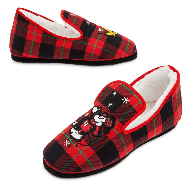 Mickey Mouse and Pluto Holiday Plaid Slippers for Adults