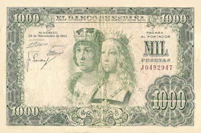Uno de los verdes... Billete de mil pesetas!