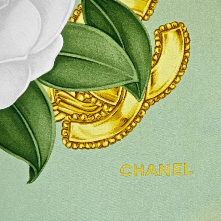 Chanel Light Green CC White Camellia Silk Scarf