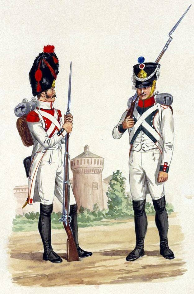Kingdom of Italy-from left to right: 2 grenadier Regiment of line infantry, fusilier Regiment 3.Fig. E. Grammont.