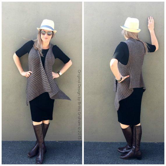 Easy Vest Crochet Pattern Waterfall Style No.933 Digital