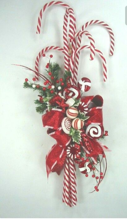candy cane christmas door hanger