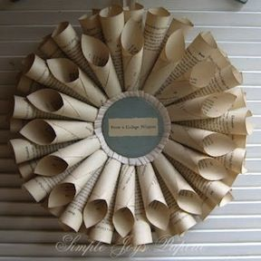 Book page wreath...I'd make the center more interesting, but I otherwise think it's fine