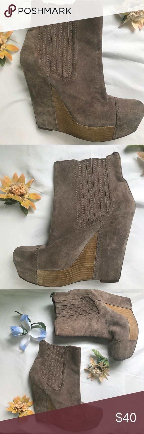JOAN & DAVID Dayvonna Wedge Boots JOAN & DAVID Dayvonna Upper. Size 8.5.  Suede. Tan color. Wedge. Gently worn. See photos for details. Joan & David Shoes Ankle Boots & Booties