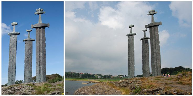 Sverd i fjell (English: Swords in Rock) is a commemorative monument located in the Hafrsfjord neighborhood of Madla, a borough of the city of Stavanger in