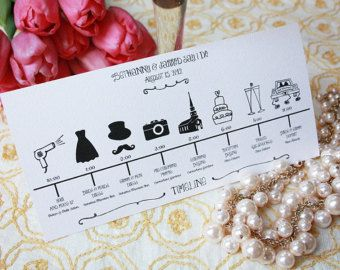 Items similar to Custom DIY Printable Wedding Timeline in black and white in size 5x7 on Etsy