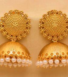 Buy ROYAL TRADITIONAL ANTIQUE GOLDEN STONE STUDDED HANDMADE JUMKAS jhumka online