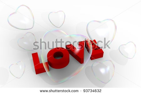 stock photo : Valentine card with 3d soap bubbles,  hearts and Love text