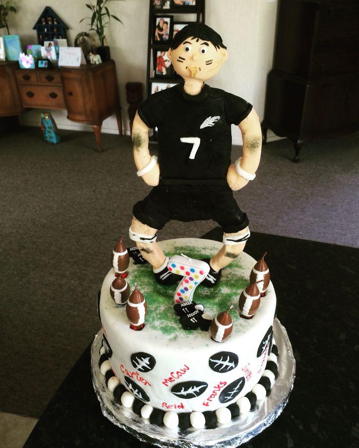 My son's 7th Birthday cake - ALL BLACKS themed Rugby cake #allblacks #rugby