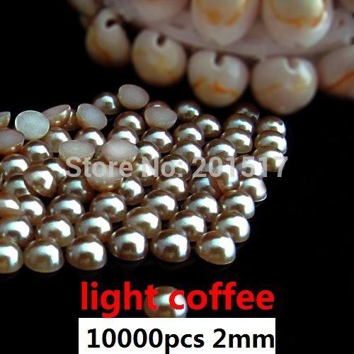 Половина Круглые Бусины 10000 шт. 2 мм Свет Кофе Ремесла ABS Клей на Смолы Жемчуг Для Ногтей Ювелирные Украшения Pearlized Кабошон DIY