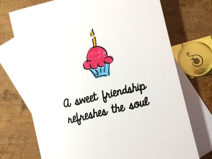 Christian Birthday Card, Cupcake Doodle, Proverbs 27:9 with sparkle made on recycled paper, comes with envelope and seal by ladybugonaleaf on Etsy
