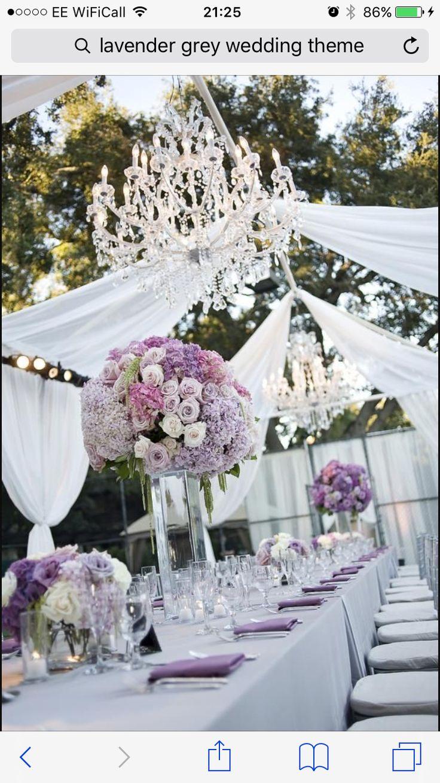 Purple white grey wedding centrepiece