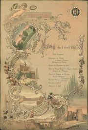 Меню торжественного обеда, данного 5 апреля 1897 г. в честь 100-летнего юбилея…