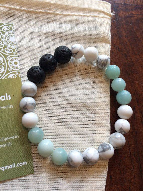 Semi-Precious beaded bracelet - Amazonite, Howlite and Lava stone for essential oil diffusing. 8 mm and 10 mm beads.