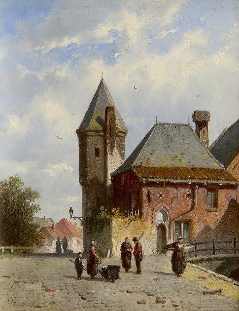 Adrianus Eversen (Amsterdam 1818-1897 Delft) Zonnig gezicht op de Koppelpoort te Amersfoort met figuren